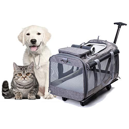 Tineer Multifunktions-Handtasche Pet Dog Travel Carrier Kinderwagen mit abnehmbaren Rädern, Pet Carrier Rucksack für kleine Hunde/Katzen bis zu 22lbs Outdoor-Einsatz (Grau)