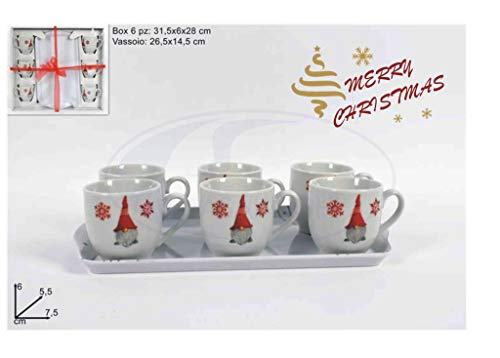 DUE ESSE CHRISTMAS S.r.l. TAZZINE Caffe' CONF. 6 PZ. C/Vassoio Ceramica GNOMI Natal.
