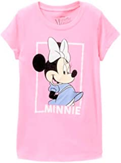 f357638aca0dfe Disney Girls T-Shirt Minnie or Mickey Mouse Print Glitter Graphic