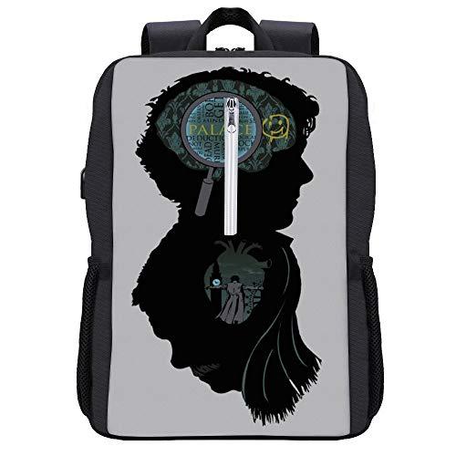 Mind And Heart Sherlock Holmes Mind Palace London Rucksack Daypack Bookbag Laptop Schultasche mit USB-Ladeanschluss