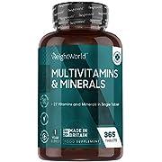 Multivitamines et Minéraux 365 Comprimés (1 an) 100% Naturels WeightWorld | 27 Vitamines Minéraux Haute Absorption – Complément Alimentaire - Vitamines A B C D E K2, Zinc, Calcium, Fer, Magnésium