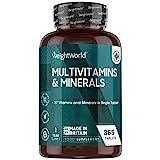 Multivitaminas y Minerales 365 Comprimidos Vegetales - 27 Vitaminas y Minerales Esenciales, Todas las Vitaminas C, A, D, B, K, E, Biotina y Minerales Yodo, Sodio, Hierro y Zinc Un Año de Suministro