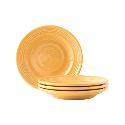 Tuxton Home Concentrix Side Plate (Set of 4), 6 1/4', Saffron Yellow; Heavy Duty; Chip Resistant; Lead and Cadmium Free; Freezer to Oven Safe up to 500F