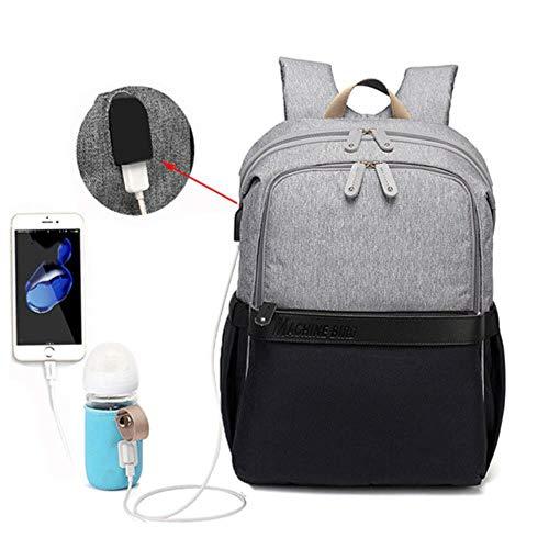 Mode baby luiertas rugzak met USB grote luiertas moederschap voor mama papa waterdichte laptop rugzak verzorgingstassen, grijs zwart