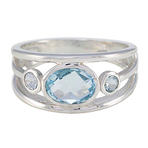 Charming Gems Blue Topaz 925 Sterling Silver Ring Labour Day Gift-RGPL-SRBTOCH-7404-P