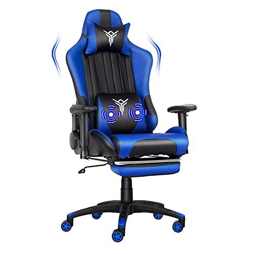 YU YUSING Massage Racing Gaming Stuhl Bürostuhl Ergonomisch Sportsitz höhenverstellbarer Computerstuhl Chefsessel Schreibtischstuhl mit Kopfstützen, verstellbaren