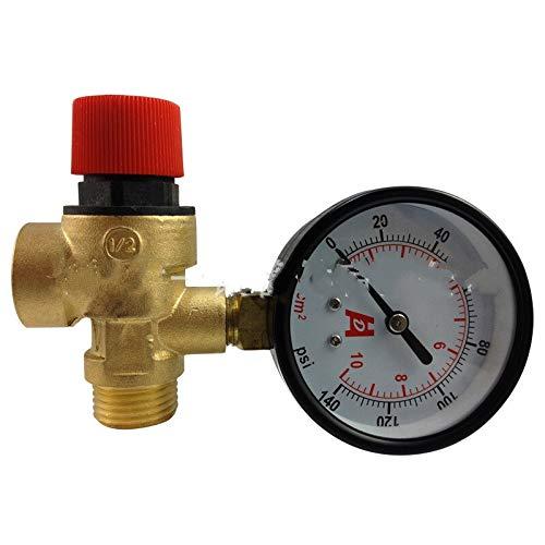 XIAOLUTIANM Válvula 1/2 Pulgadas DN15 1,5-8 Bar válvula de Seguridad Válvula Compatible with Calentador de Agua Solar con manómetro (Color : Brass, Size : 2.5 Bar)