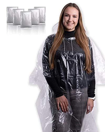 5X Wasserdichter Regenponcho mit Kapuze und Kordelzug für Damen und Herren Regencape Regenmantel Regenjacke [ Notfallponcho mit 100% Regenschutz durch 0.35mm Dickes PE ] (Classic, 5er Pack)