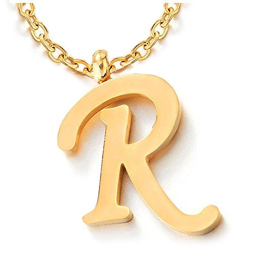 COOLSTEELANDBEYOND Nombre Inicial Letra del Alfabeto R Colgante, Collar de Mujer Hombre, Acero Inoxidable Color Oro, 50cm Cadena Cuerda