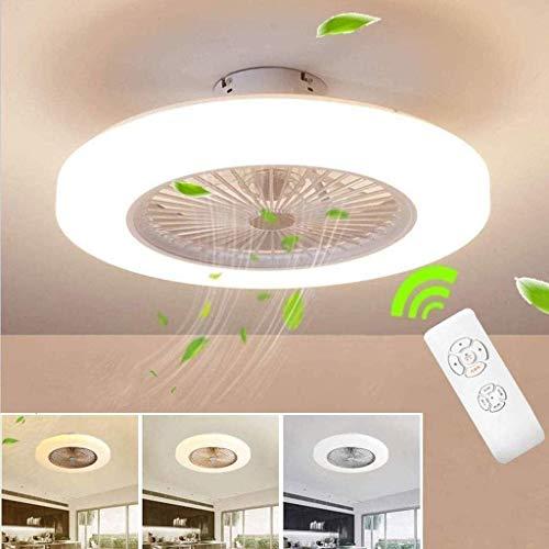 DLGGO Ventilador de techo LED con la lámpara, ventilador invisible Ventilador de techo de luz LED, ajustable velocidad del viento, regulable de control remoto, Sala del restaurante del dormitorio de o