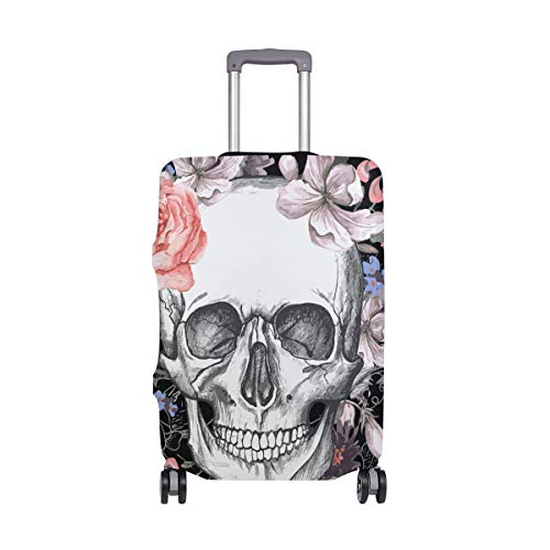 MONTOJ Skull and Flowers Day of The Dead Suitcase Cover Luggage Cover ONLY Cover