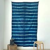 MOMOMUS Tapiz Shibori Tie Dye - 100% Algodón, Grande, Multiuso - Tapices de Pared Decorativos Ideales para la Decoración del Hogar, Habitación o Salón - Azul C, 135x210 cm