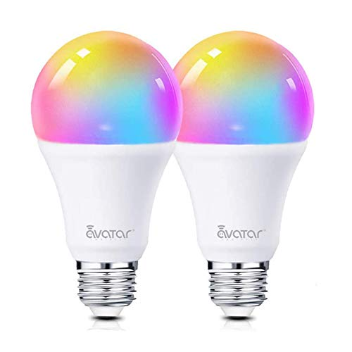 Smart LED Light Bulb, Alexa Light Bulbs WiFi Dimmable 2 Pack Work with Google Home/Smart Life APP, Avatar Controls RGBCW Color Changing Lights, No Hub Required (800LM E26 A19 8W=70W Equivalent)