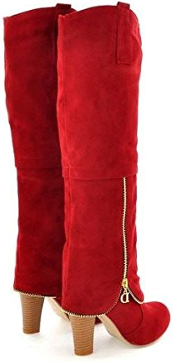 Plus Size 34-43 Autumn Winter Women Boots Sexy Thick High Heel Flock Boots