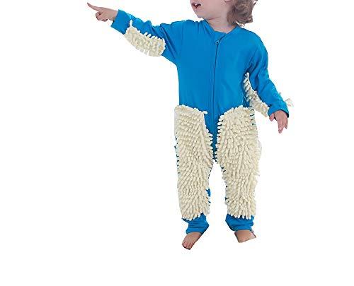 Ropa de fregona infantil de una sola pieza para niños, ropa de trapeador y escalada para personas perezosas 80 yardas azul real + beige