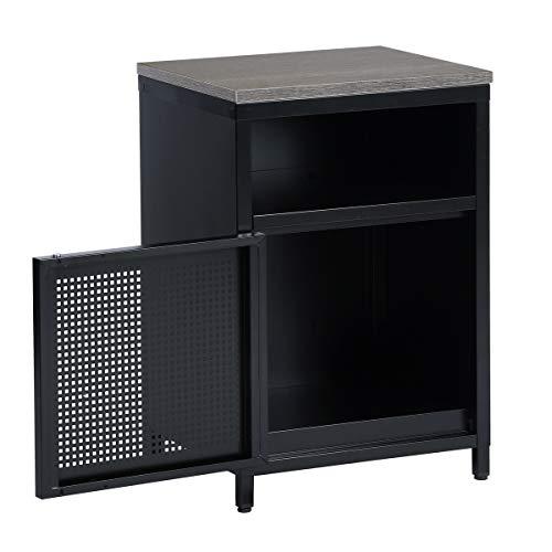 Furnish - 1 mesita de Noche con cajón, Armario de Escritorio, 1 Puertas y 1 cajón, Tirador de estantes, Color marrón