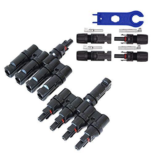 GTIWUNG 1 par Rama T Conectores Adaptador M/F/F/F/F y M/M/M/M/F T4-1 Conectores de Derivación T Forma Conectores Solar Fotovoltaicos, Macho/Hembra Conector Impermeable