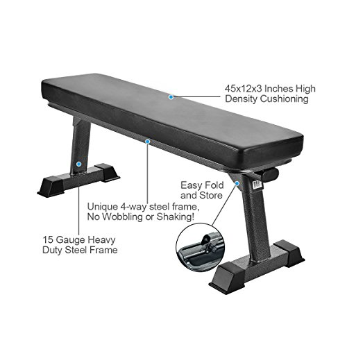 Finer Form Gym Quality Foldable Flat Bench for Multi-Purpose Weight Training and Ab Exercises - Free PDF Workout Chart Included