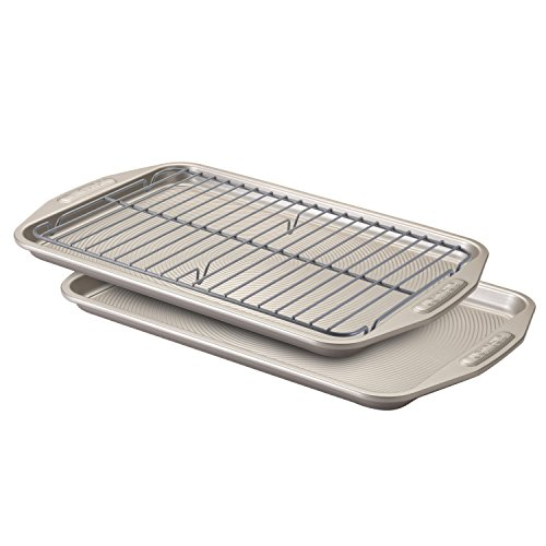 Circulon 57091 Total Bakeware Set Nonstick Cookie Baking Sheets with Cooling Rack, 3 Piece, Gray