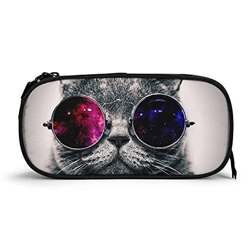 Cool Cat con gafas de sol diseño de estuches para adultos, bolsa de lápices de maquillaje de apertura ancha pequeña bolsa de cosméticos para adultos oficina universitaria