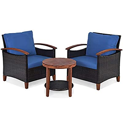 Tangkula 3PCS Patio Furniture Set, Outdoor Rattan Sofa and Side Table w/Solid Acacia Wood Fame, High Load Bearing Conversation Bistro Set w/Washable and Removable Cushions (Navy Blue)
