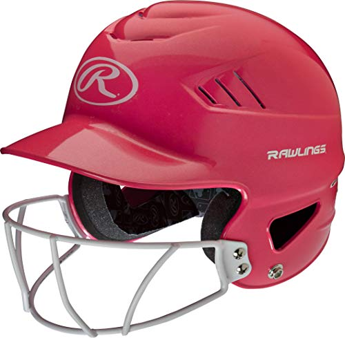 Rawlings Highlighter Series Coolflo Youth Baseball/Softball Batting Helmet with Face Guard, Metallic Pink, AMARCFHLFG-METPK, 6 1/2-7 1/2'