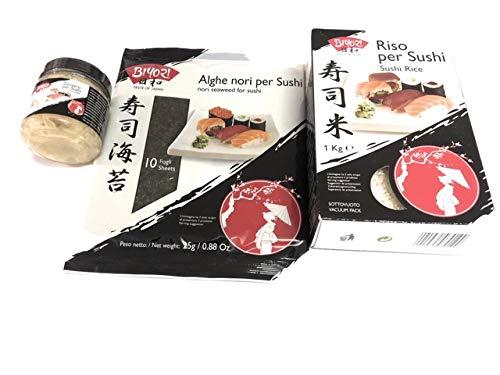 Sushi Biyori Tris - Zenzero in Salamoia 190 g + Alghe Nori per Sushi 25 g + Riso per Sushi Biyori 1 kg
