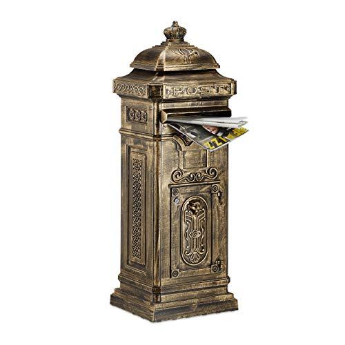 Relaxdays Standbriefkasten Antik, britisches Design, rostfreies Aluminium, HBT: 101x34,5x31 cm, Säulenbriefkasten, gold