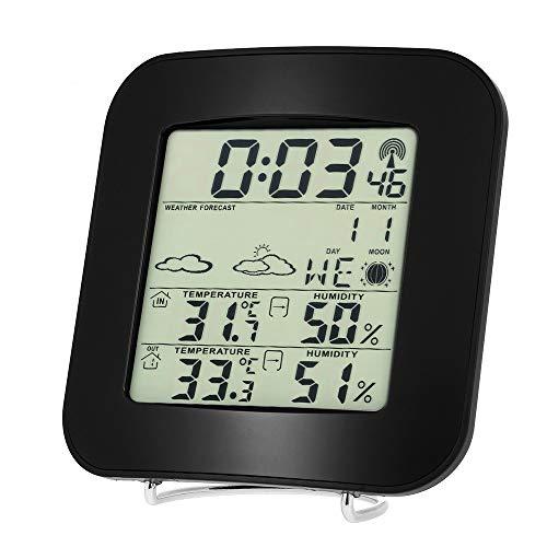 Cucudy Multifuncional LCD para ambiente externo/interno Medidor de umidade digital de temperatura com despertador Termômetro sem fio Higrômetro Calendário Tendência de temperatura Alarme Nível de conf