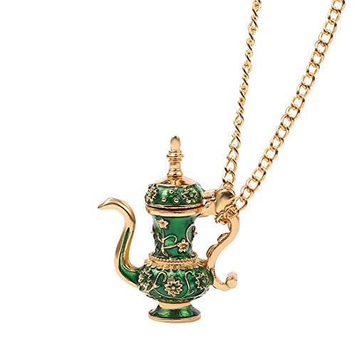 wangzz Flagon Teekanne Anhänger Langkettige Halskette Emaille Green Gothic Style Halskette Schmuck Gibt Frau Geschenk