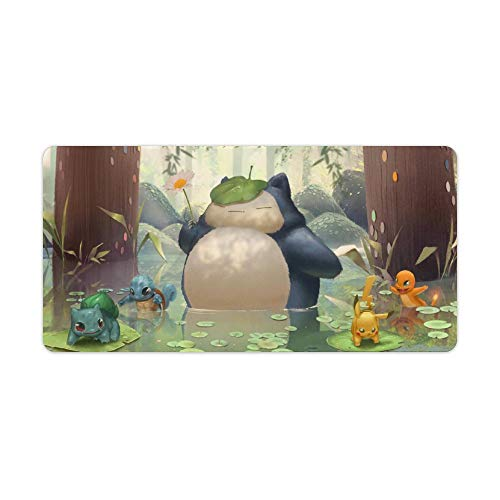 Anime Mouse pad,Pikachu Snorlax,Large Gaming Mouse Mat,Desk Mat,Waterproof Anti-Dirty No-Slip Stitched Edges Mousepad,Perfect for Computers,60x30cm,24x12 inch