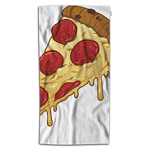 Moslion Pizza Bath Towel Italian Food Pizza with Cheese Red Tomato Sausage Towel Soft Microfiber Baby Hand Beach Towel for Kids Bathroom 32x64 Inch -  TOWBEACHYV-AAA667