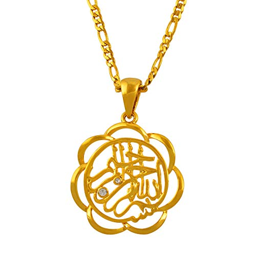 Nobrand Mohammed Allah Charm Anhänger Halsketten Islamische Religion Arabischer Schmuck Frauen Gold Farbe Moslem Nahost
