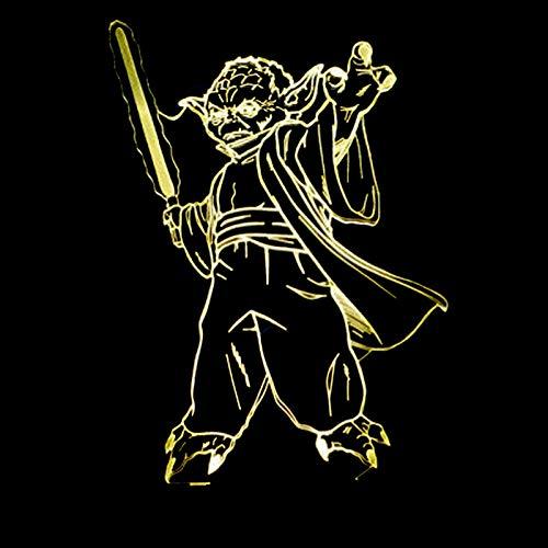 veilleuse 3d Mode Star Wars 3D Lampe de Table LED Maître Yoda Jedi Chef Éclairage Humeur Décoration de Maison Chambre Chevet Sommeil Veilleuse De Noël Cadeaux