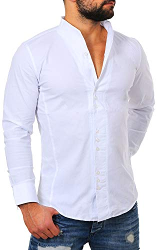 CARISMA Herren Uni Langarm Stehkragen Hemd Slimfit tailliert figurbetont Party Club Look Optik Freizeit Casual einfarbig Basic, Grösse:S, Farbe:Weiß