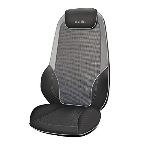 HoMedics ShiatsuMax 2.0 Coprisedile Massaggiante Elettrico Shiatsu, Supporto per Spalle, Schiena e Gambe, Vibrazioni e Calore per Sollievo Muscolare, Poggiatesta Regolabile, Grigio