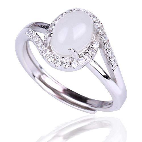 JY Calcedonia con incrustaciones de plata S925, anillo ajustable de Hetian Jade regalo/B