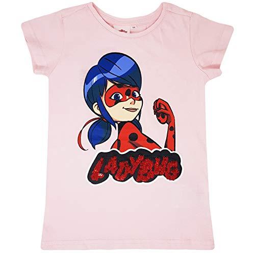 Miraculous - Ladybug - Mädchen Pailletten T-Shirt, Wende-Pailletten Shirt für Kinder, Lady Bug Kleidung Mädchen (110)