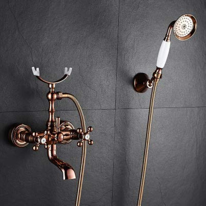 Badewannenarmaturen Messing RoséGold Badezimmer Dusche Wasserhahn Set, Griff Duschsystem Wandmontage Wasserhahn,C