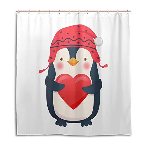 CPYang Duschvorhänge, niedliche Pinguin-Weihnachts-Herz, wasserfest, schimmelresistent, Badevorhang, Badezimmer, Heimdekoration, 168 x 182 cm, mit 12 Haken