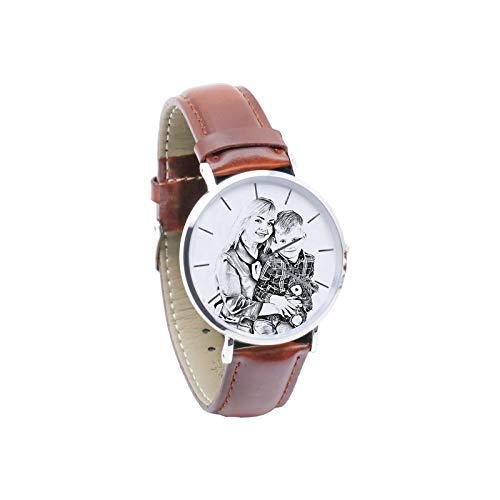 Reloj con Foto Personalizado Reloj Unisex Reloj con Imagen grabada Reloj de Cuero Reloj para Hombre Navidad para Mujer(Bosquejo marrón Mujeres-24cm)