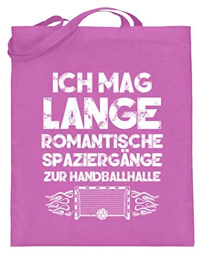 shirt-o-magic Handball-Fan: Romantische Spaziergänge - Jutebeutel (mit langen Henkeln) -38cm-42cm-Pink