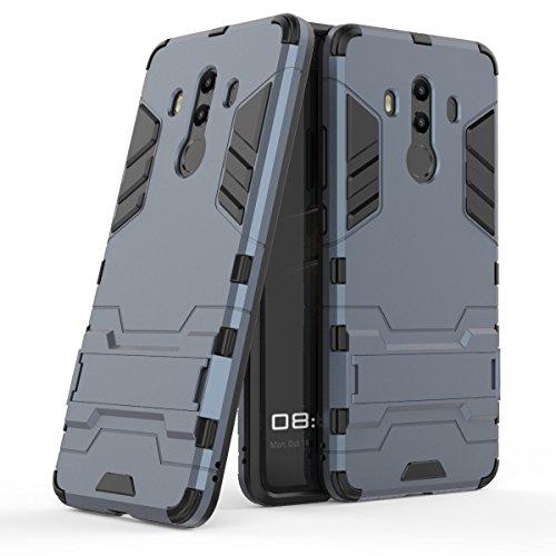 Huawei Mate 10 Pro Custodia, Huawei Mate 10 Pro Cover, MHHQ 2 in 1 nuovo Armour stile Hybrid Dual Layer Armatura Defender PC + TPU Custodie con supporto per Huawei Mate 10 Pro -Black Plus Gray
