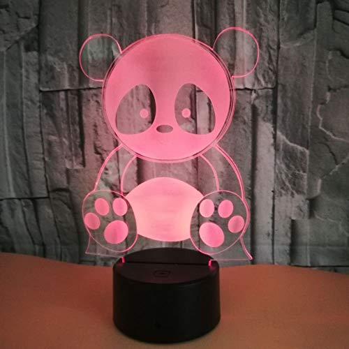 Cute Panda 3D Night Light Illusion 3D Desk Table Lamp Led 7 Color Changing Usbtouch Switch Home Decor for Kid's Gift