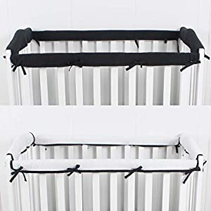 crib bedding and baby bedding casaja 4-piece mini crib rail cover set for entire mini crib rails 24in x 38in, safe breathable padded batting inner for baby teething guard, soft reversible mini crib rail protector wraps, black