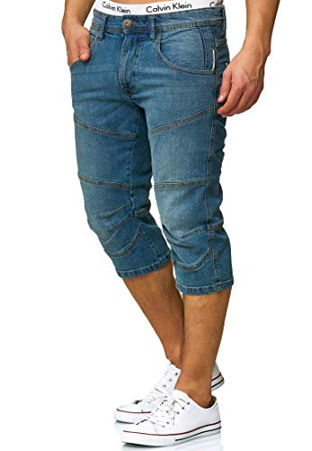 Indicode Herren Fortune 3/4 Jeans Shorts mit 5 Taschen aus 98% Baumwolle | Kurze Denim Stretch Sommer Hose Used Look Washed Regular Fit Men Short Pants Freizeithose für Männer in Blue Wash XL