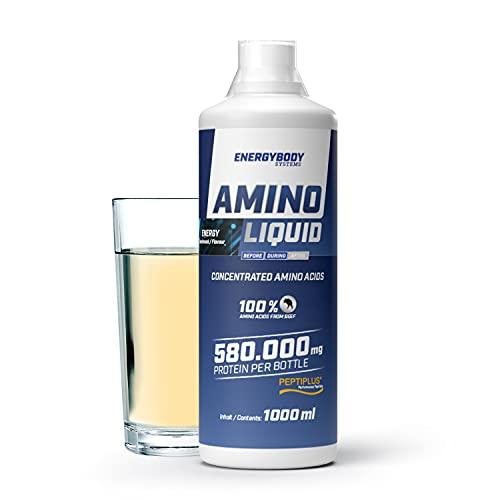 """Energybody Amino Liquid """"Energy"""" 1 L/Flüssige Aminosäuren aus Protein Hydrolysat/Reines Rinderkollagen als Aminosäuren Komplex hochdosiert/Eiweiß Flüssig aus bioaktiven Kollagenpeptiden"""