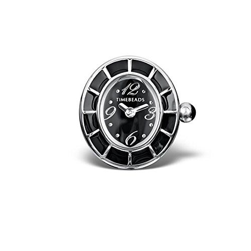 Timebeads Reloj ovalado negro con cierre de rosca.