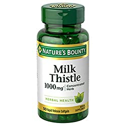 professional Nature's Bounty Milk Thistle, Herbal Health Supplement, Supports Liver Health, 1,000 mg, 50…