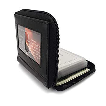 AG Wallets Mens Zip Around Leather Wallet with Inserts  Black